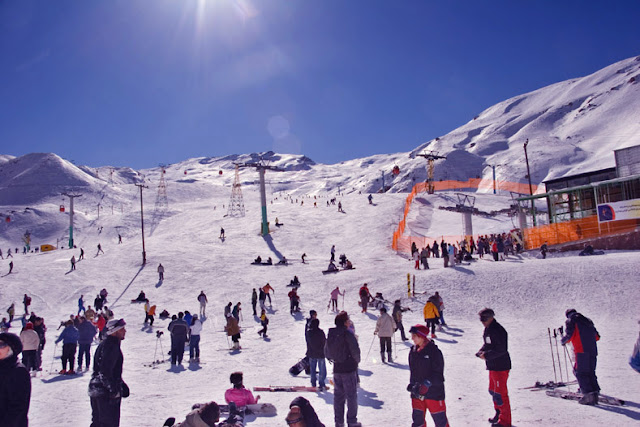Young Iranians gathering and skiing in Shemshak ski resort in the north of Tehran.