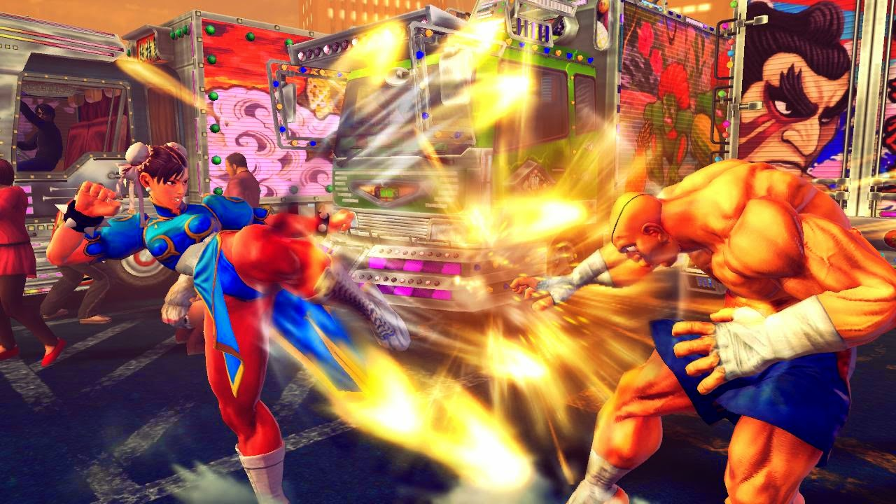 sexy Chun Li legs kicking Sagat Super Street Fighter IV