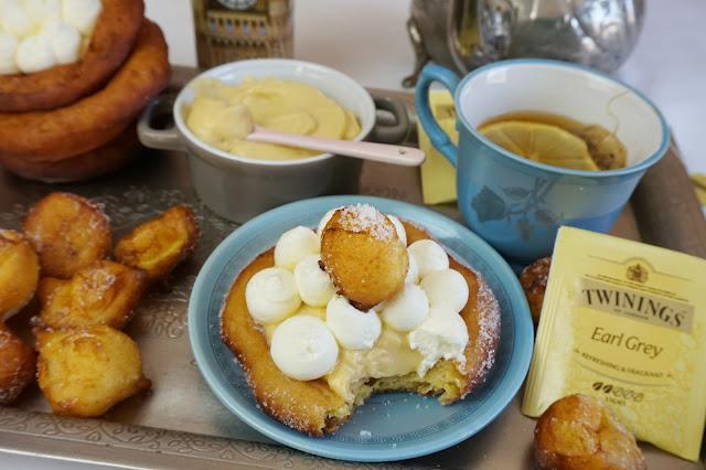 bocado tartaletas de buñuelos y crema con Earl Grey