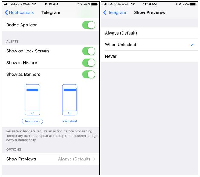 Come nascondere le anteprime di notifica per singole applicazioni dell'iPhone