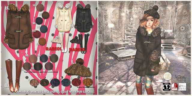 {amiable}Winter Girls Duffel Coat with Fur Gacha@the Chapter Four.
