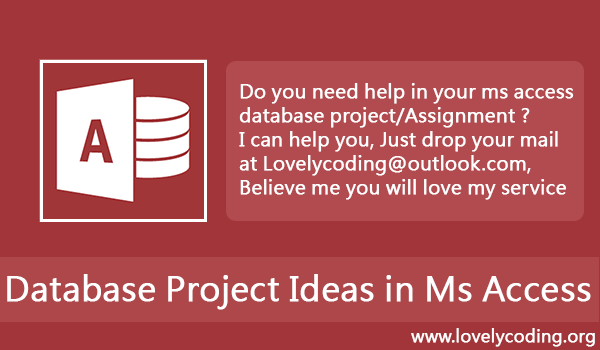 Database Project Ideas In MS Access