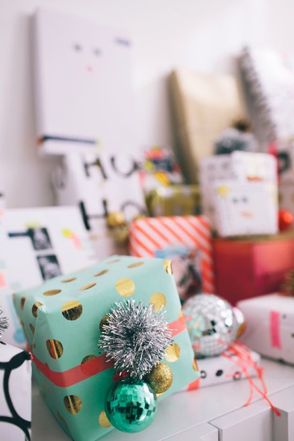 retro gift wrap and tinsel