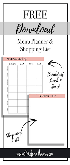Free Printable Download - Grocery Shopping List and Weekly Meal Planner