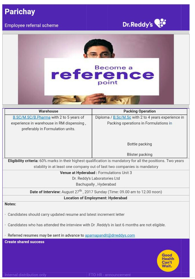 Pharma company recruiting Dr  Reddy's Lab Ltd: Walk in