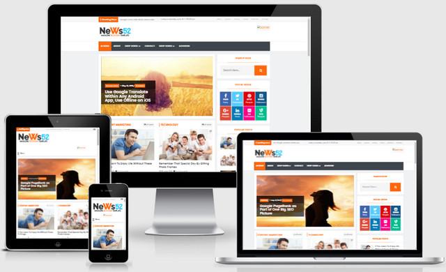 News52 Magazine SEO Responsive Blogger Templates