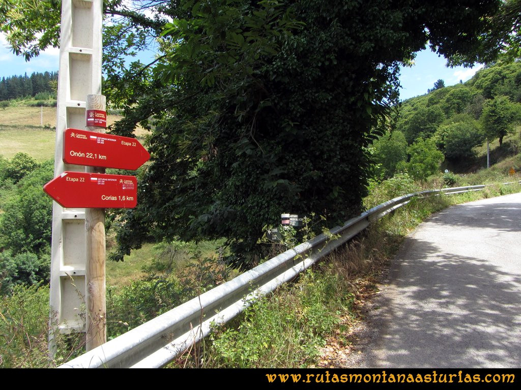 Ruta Cangas - Acebo: Junto a Vallinas, tomamos la carretera
