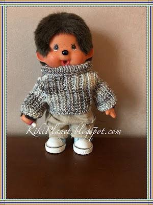 kiki monchhichi pull tricot vêtement poupée knitting sweater clothes handmade fait main