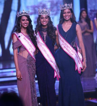 femina miss india 2018 top 3 winners Anukreethy Vas Meenakshi Chaudhary Shreya Rao Kamavarapu