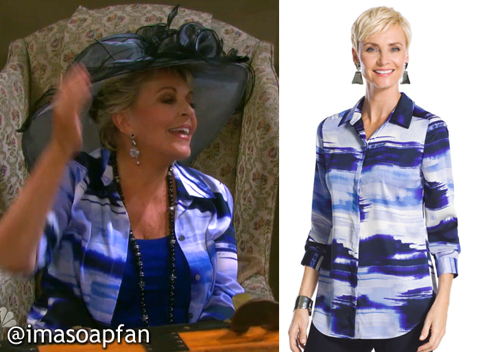 Julie Williams's Blue and White Brushstroke Striped Shirt - Days of Our Lives