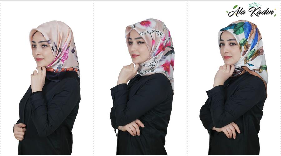 Ala Kadından Bej Renk Ipek Eşarp Modelleri
