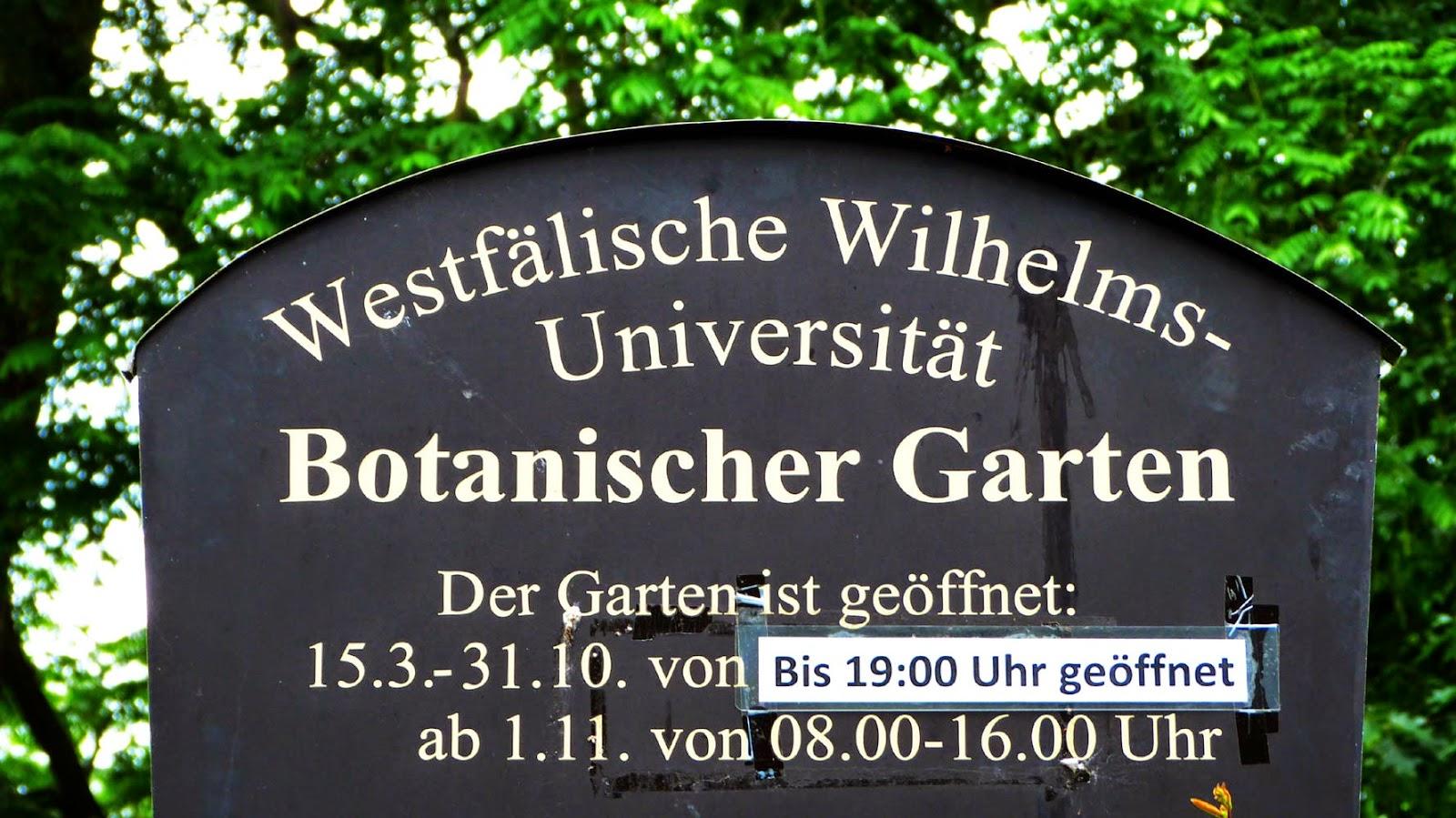 Botanischer Garten in Münster, Öffnungszeiten Botanischer Garten