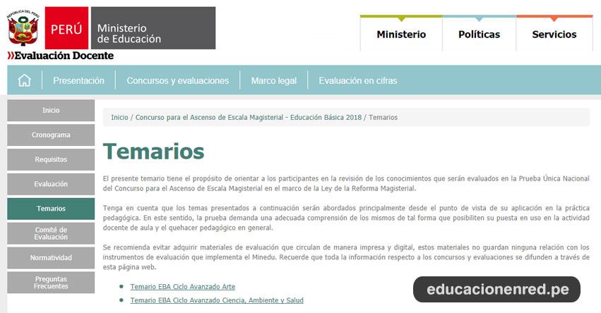 EXAMEN DE ASCENSO: Temarios para la Prueba Única Nacional del Concurso para el Ascenso de Escala Magisterial 2018 - MINEDU - www.minedu.gob.pe