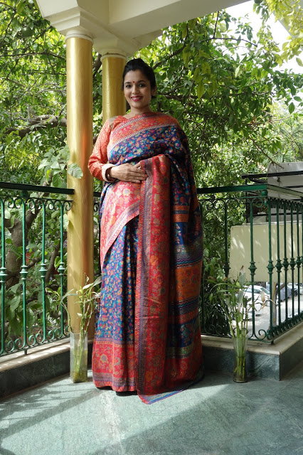Ink Blue Kani saree