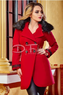 Palton dama elegant de iarna cu blanita, rosu
