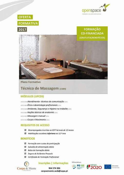 curso financiado de massagem em Viana do Castelo