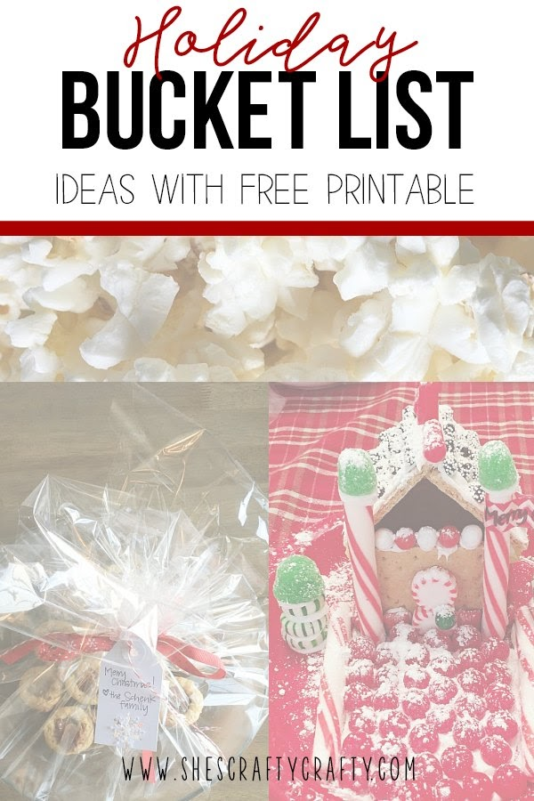 Holiday Bucket List Ideas with free printable.  Over 30 ideas to help you look forward to the holiday season