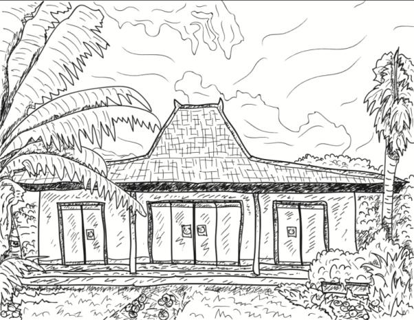 Image Result For Sketsa Gambar Rumah Adat Joglo
