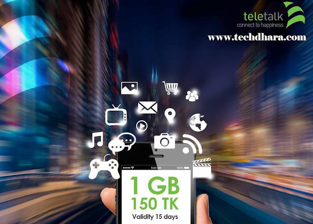 Teletalk 1GB data only 150 taka