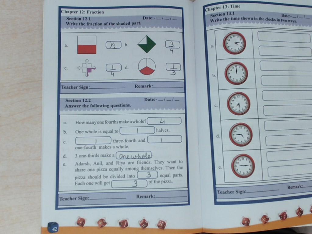 Math ch- 10 Fraction (T.B) PG NO- 166,168,173,174 Mental Math- pg no ...