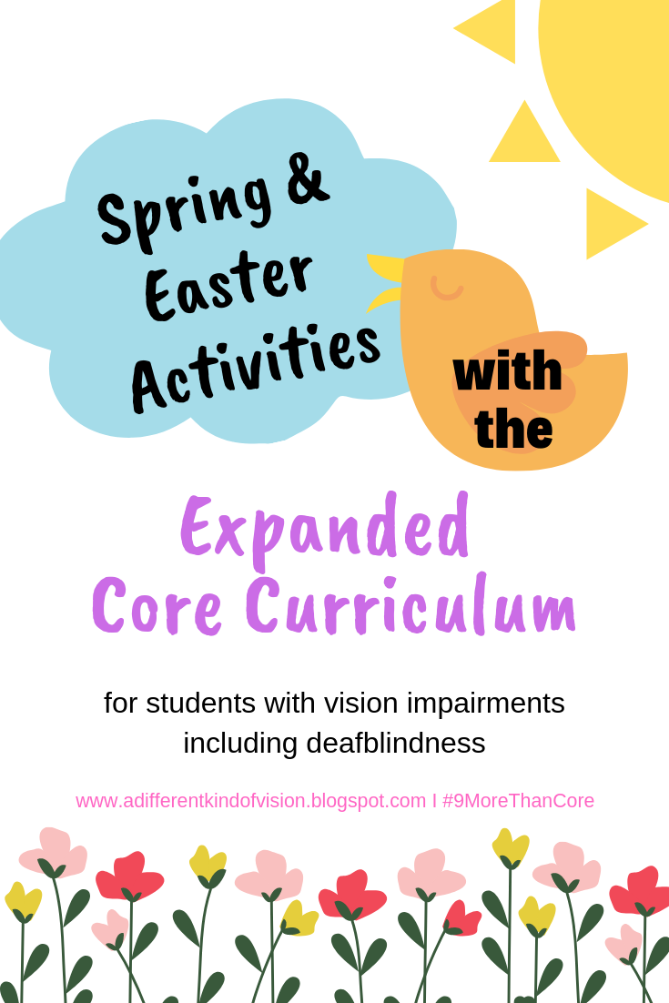 graphic that says spring & easter activities with the Expanded Core curriculum