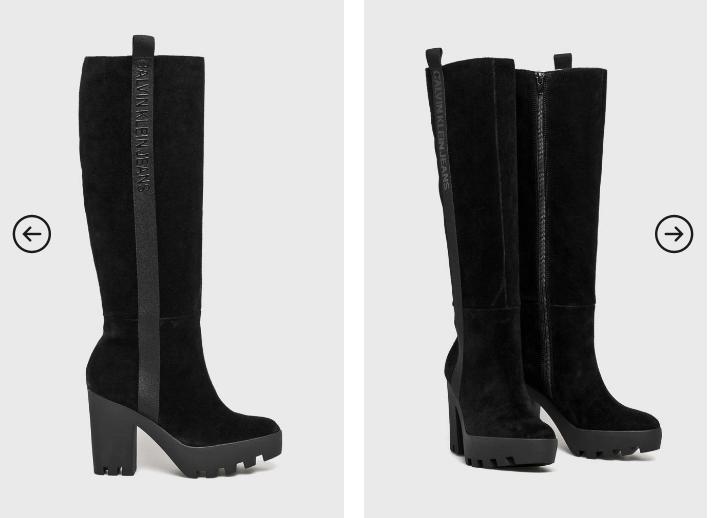 Calvin Klein Jeans - Cizme de zi cu toc gros negre reducere de iarna piele naturala intoarsa