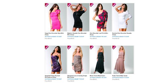 Gama de trajes en un catálogo de producto