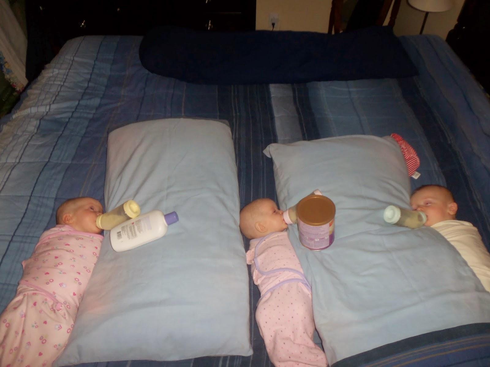 Triplets  Toddler Bottle Propping