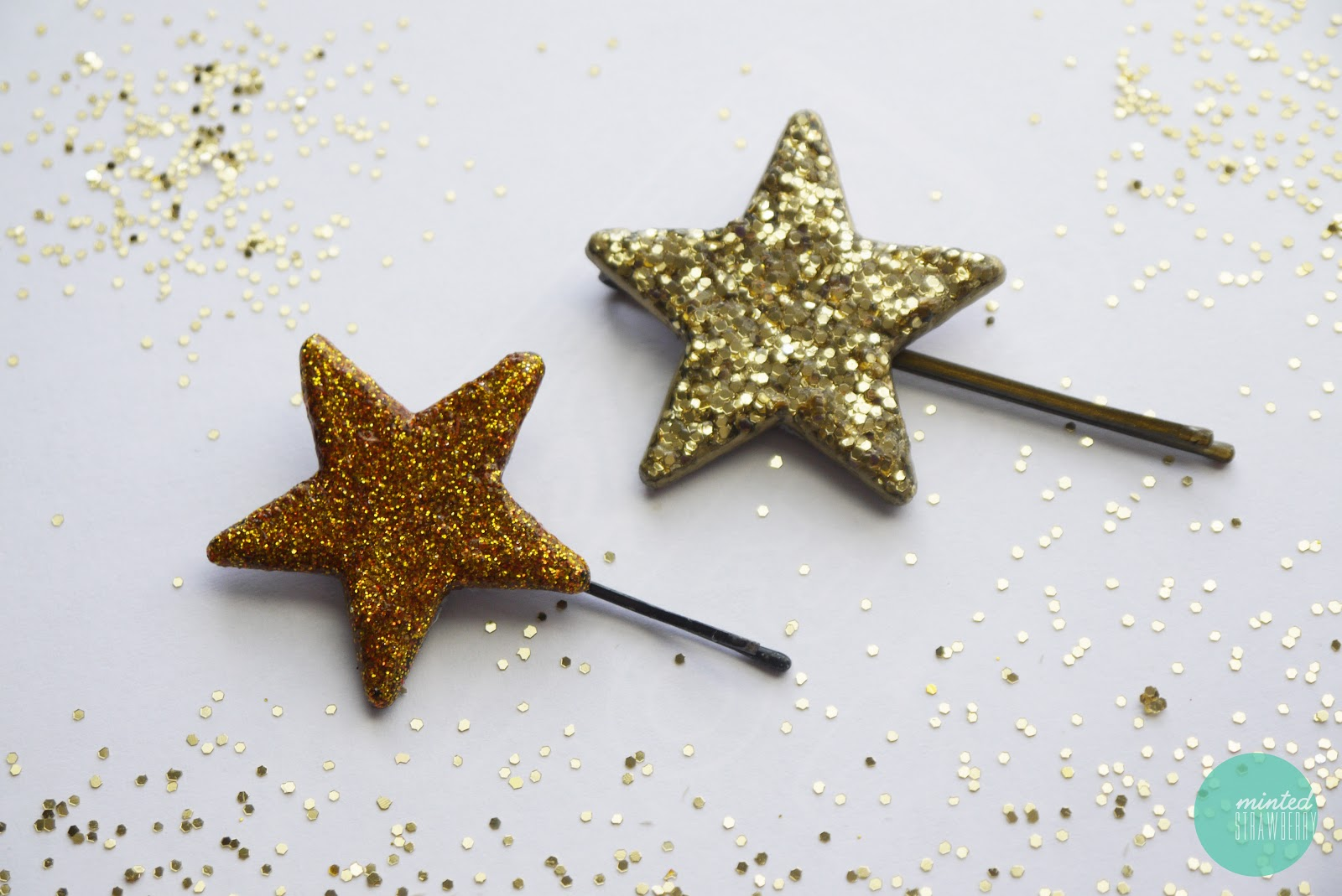DIY: Glitterized Star Hairpins - Minted Strawberry
