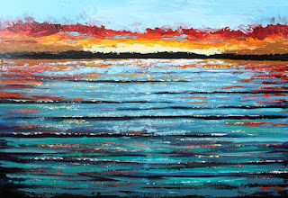 colorful ocean sunset acrylic painting
