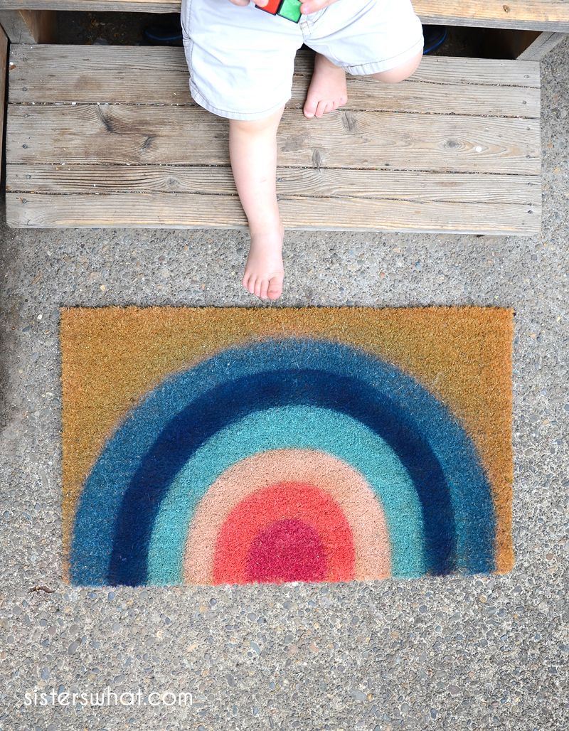 how to spray a rainbow doormat
