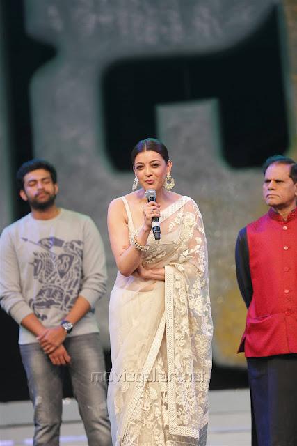 Kajal Aggarwal In Beautiful Designer Saree at Khiladi 150 Meet (10)
