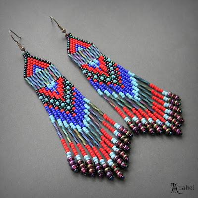купить Длинные серьги из бисера (в этническом стиле) россия