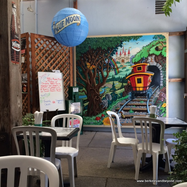 patio of Loose Caboose Cafe in Willits, California