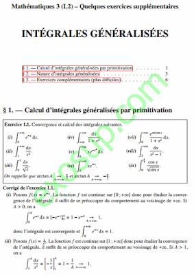 exercices corrigés intégrales généralisées Mathématiques 3 (L2)
