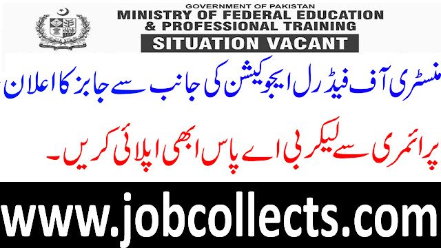 Ministry Of Federal Education And Professional Training Jobs In Pakistan