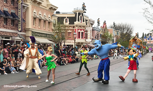 Genie, Aladdin, Tinker Bell, Peter Pan, Blue Fairy, Pinocchio, Fairy Godmother, Cinderella, The Sword in the Stone, The Princess and the Frog, Sleeping Beauty Magic Happens Float