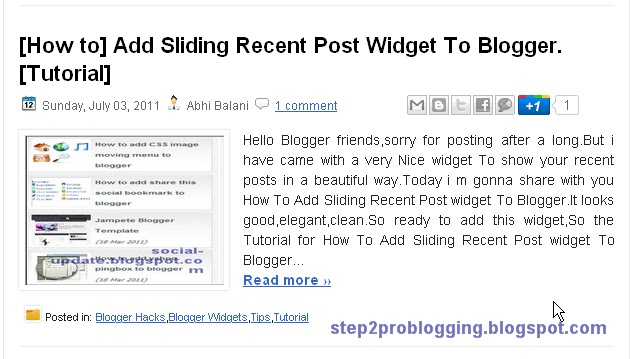 Automatic post summary for blogger blogs