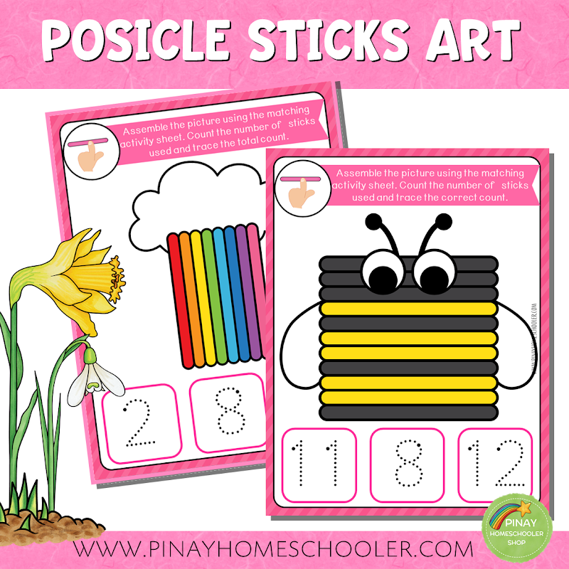 SPRING THEMED POPSICLE STICKS ART