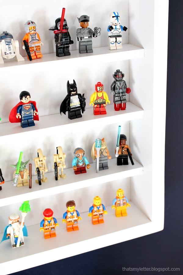 minifigs on shelf