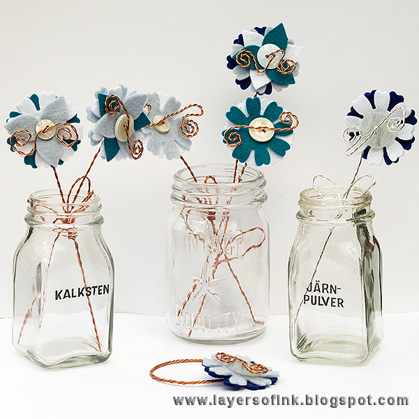 Layers of ink  - DIY Wire and Felt Flowers Tutorial by Anna-Karin