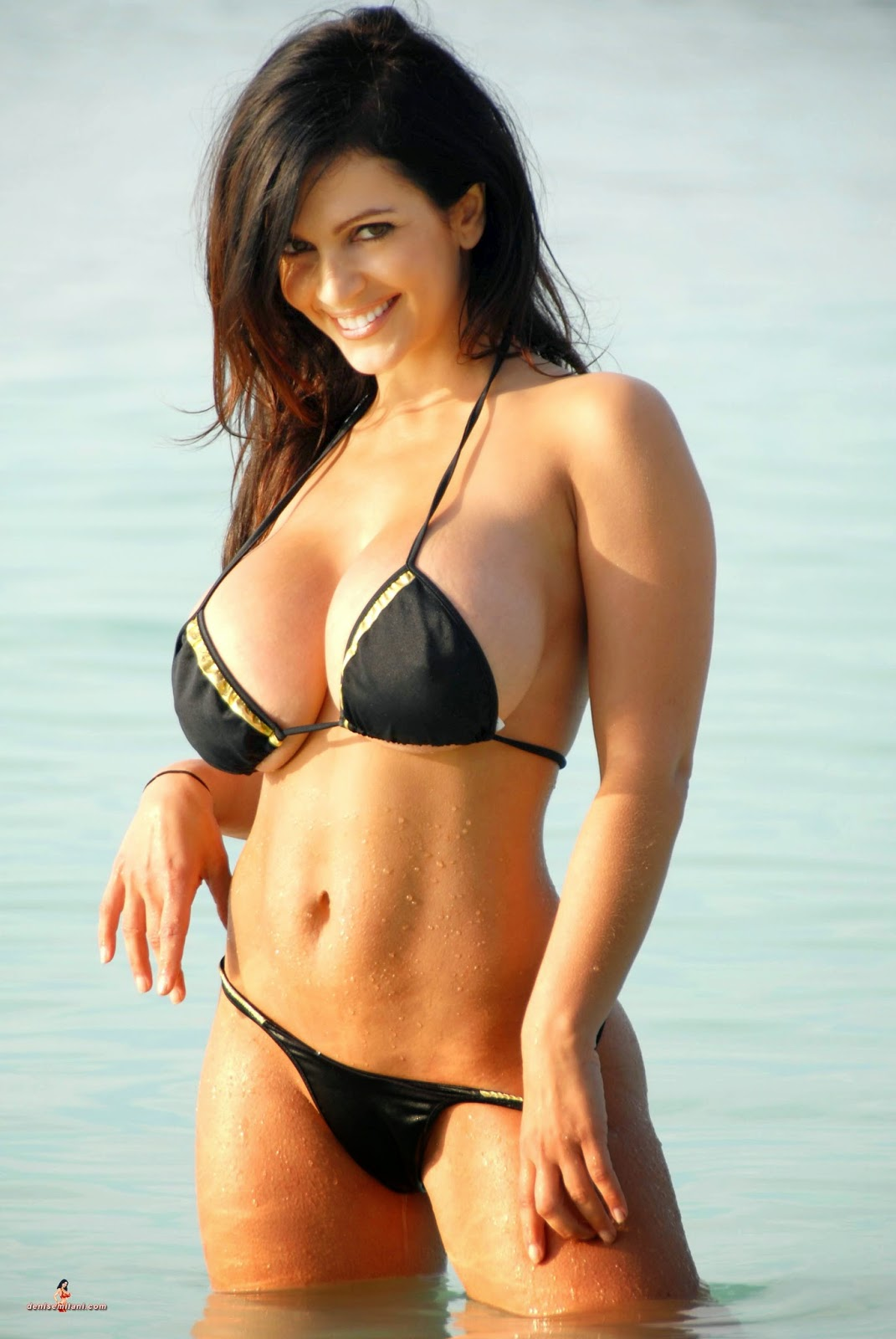 Denise Milani Archives Beach Black Hot Bikini-7967