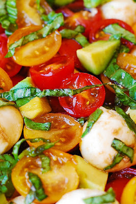 Tomato Basil Avocado Mozzarella Salad with Balsamic Dressing