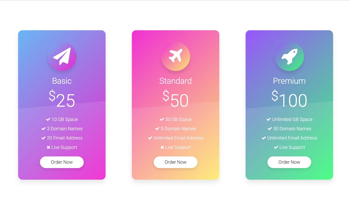 Pricing table ui with animation