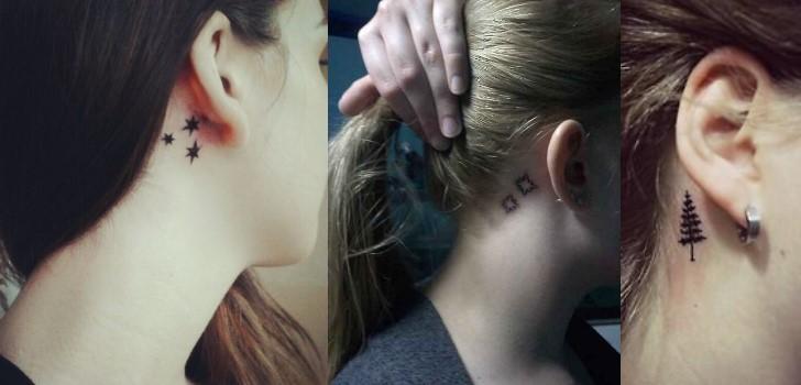 Delicado Pequenas Tatuagem Atras Da Orelha Feminina Mmod