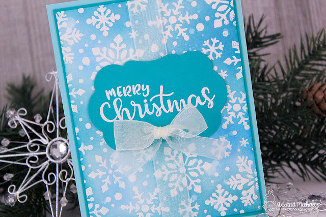 Inside of the card with sentiment - Merry Christmas Card by Juliana MIchaels featuring Sentiments Of The Season Stamp Set and Snowfall Stencil by Newton's Nook Designs