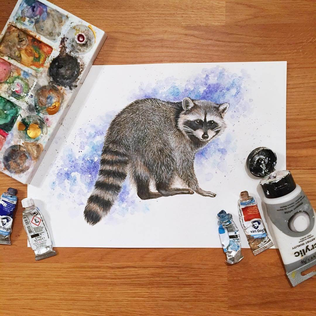 11-Raccoon-K-Schwarzoviously-Wildlife-Animal-Paintings-www-designstack-co