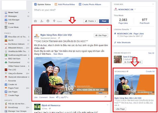 Hình thức quảng cáo Facebook Page Post