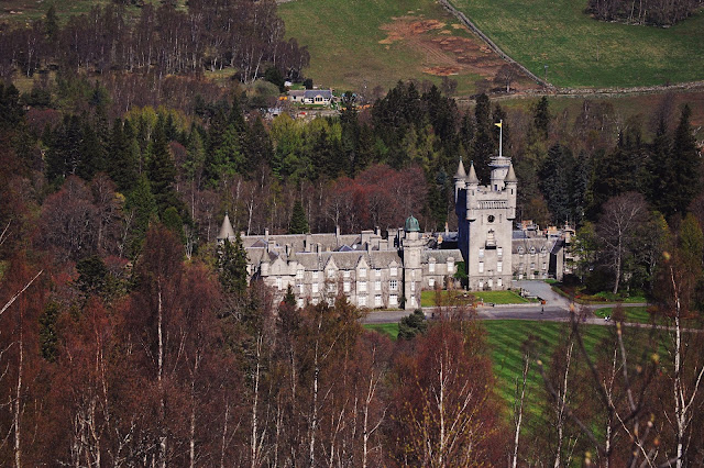 View of Balmoral Castle Royal Deeside Aberdeenshire from cairns