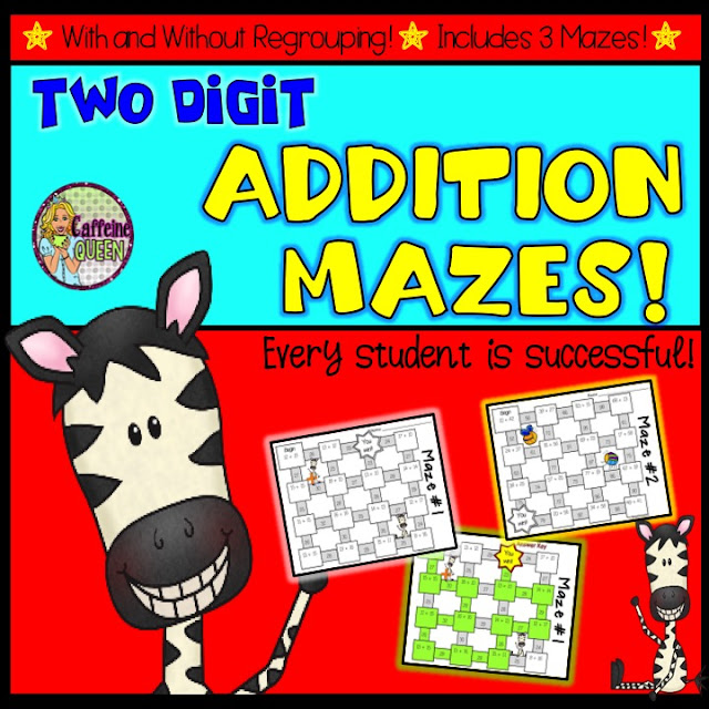 Two Digit Addition Mazes with and without Regrouping!